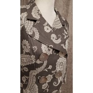 3 Sisters Jacket Grey White Paisley Button Medium